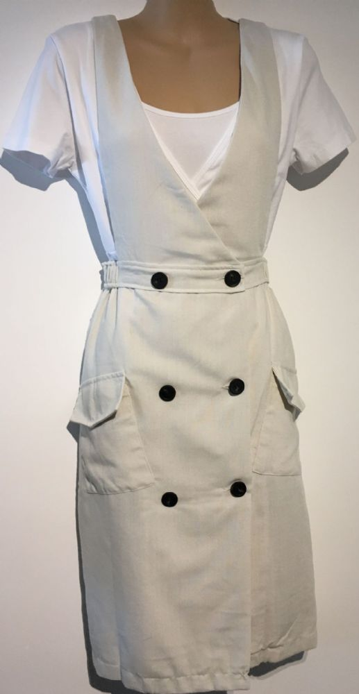 CREAM BUTTON FRONT PINAFORE DRESS SIZES 8/10 & 10/12